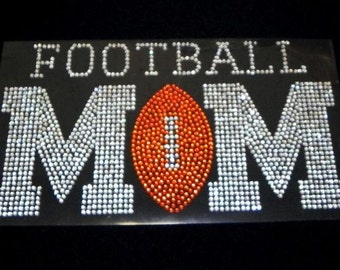 Football MOM Iron On Rhinestone Transfer