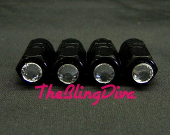 Sparkly Clear Rhinestone Bling On Black Tire Valve Step Cap Set of 4