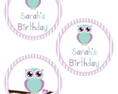 """Girl Owl Birthday - 4"""" Party Circles. Printables By Invitation Only DIY"""