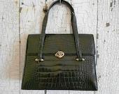 SALE Lucille de Paris Black Alligator Belly Handbag