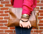 Brown clutch - oversized, snakeskin