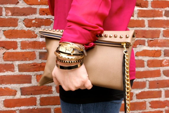 Oversized clutch - taupe leather, studs