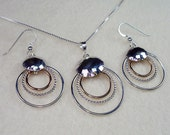 Designer Circles Necklace and Earrings with Hammered Disk in Sterling Silver with 14kt Gold Filled Necklace