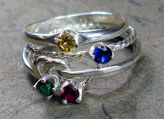 Stacked Rings Argentium Silver 3mm Cubic Zirconia CZ Birthstone - Mix and Match - Pick Your Own Set