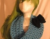 24 HOUR SALE chunky blue cowl scarf with black bow