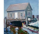 """Coastal Maine Lobster Shack , Original Nautical artwork , 5""""X5"""" square oil painting on stretched canvas"""