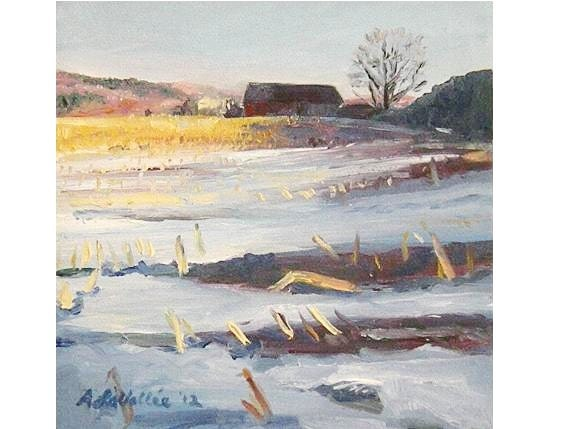 """Fathers Day Original Small Oil Painting 5""""X5"""" ever so lovely landscape Winter CORNFIELD stretched canvas"""