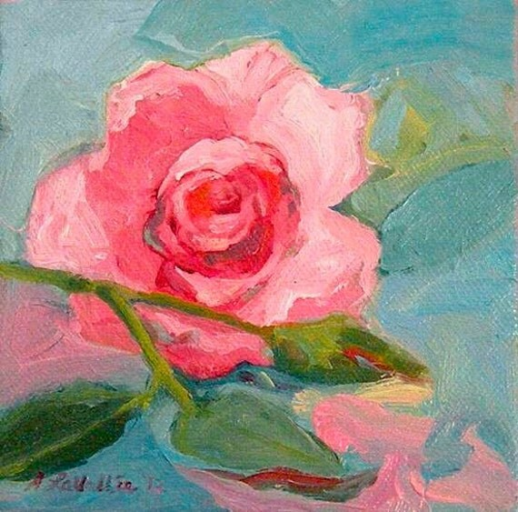 Romantic Pink Sweetheart Rose  Shabby Chic Original Small Oil Painting SQUARE canvas with frame available