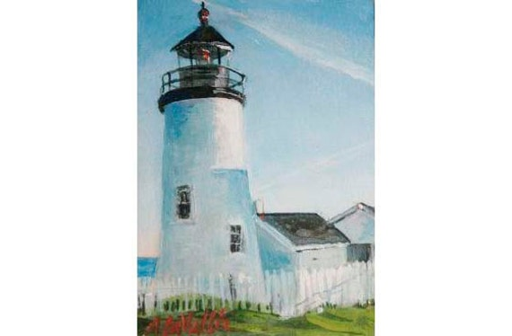 """MAINE Lighthouses collection 5 ACEO prints Nautical art  2.5""""X3.5"""" collectible Artist Trading Cards"""