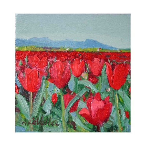 "RED Tulips Field Original Small Oil Painting 5""X5""  square Cottage Chic  floral landscape stretched canvas with frame available"