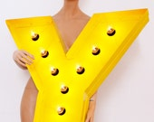 Helvetica yellow letter 'Y' sign lamp