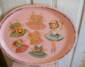 Shabby old pink tray decoupaged paper dolls wall hanging or tray