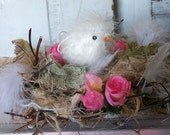 This lil guy reserved for Lucky Hand made nest with chick Springtime Easter home decor nursery piece   Anita Spero