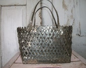 Vintage metal mesh weave purse tote style purse, rare