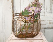 Rusty metal farmhouse style basket , deep shabby chic piece with lilacs Anita Spero