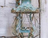 Shabby chic scroll work metal lantern candle holder with hanger ooak Anita Spero