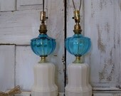 Vintage Milk Glass lamps with blue glass globes decor