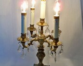 Reserved Item Ornate antique brass Candelabra- dripping crystals- shabby chic table lighting fixture marble base