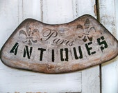 Large Paris antiques Hand painted sign distressed detailed tobacco finish  Anita Spero