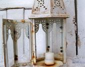 White distressed shabby chic lantern hand painted farmhouse decor  ooak Anita Spero