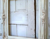 White ivory ornate frame gold accents 37 by 31 distressed shabby chic  Anita Spero