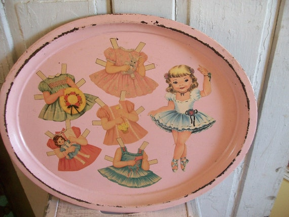 Vintage oval pink serving tray shabby chic cottage OOAK Anita Spero
