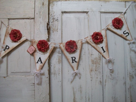 Hand made Paris themed garland banner pink flowers black letters, French chic decor Anita Spero