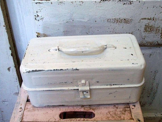Vintage recycled distessed white metal tackle box organizer, caddie for craft supplies ooak anita spero