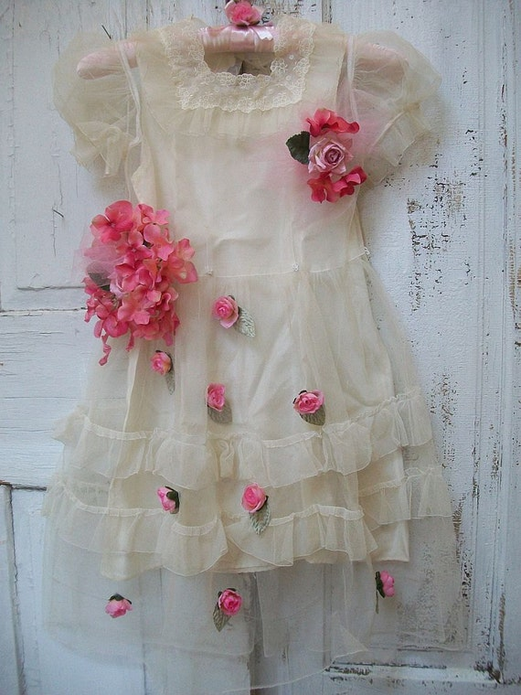 Vintage girls dress wall decor shabby chic sheer overlay- window cover - nursery ooak Anita Spero