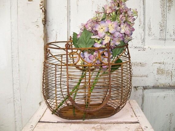 Rusty metal farmhouse style basket , deep shabby chic piece with lilacs Anita Spero