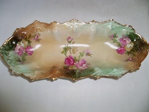 Vintage Porcelain china celery relish dish made in Austria rose pattern gold trim