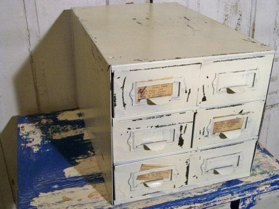 Farmhouse shabby metal utility organizer drawer Anita Spero