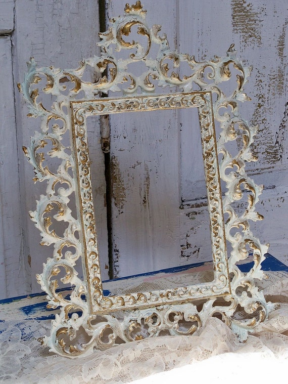 Vintage metal picture frame hand painted shabby chic -cream and gold-easel back Anita Spero