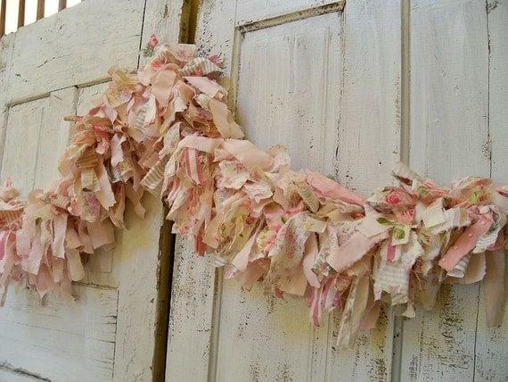 Hand made shabby chic pink scrap fabric garland very full Anita Spero