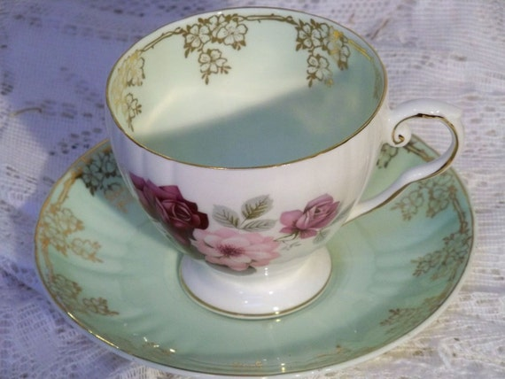 Vintage fine china tea cup and saucer Royal Grafton Mint green and Roses excellent condition Anita Spero