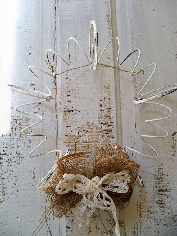 Wreath recycled bed springs rusty metal shabby chic primitive farmhouse wall decor Anita Spero