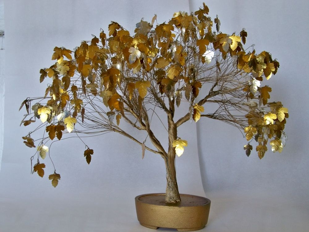 Gold Vintage Wire Tree Sculpture Art Mid Century Twisted Wire