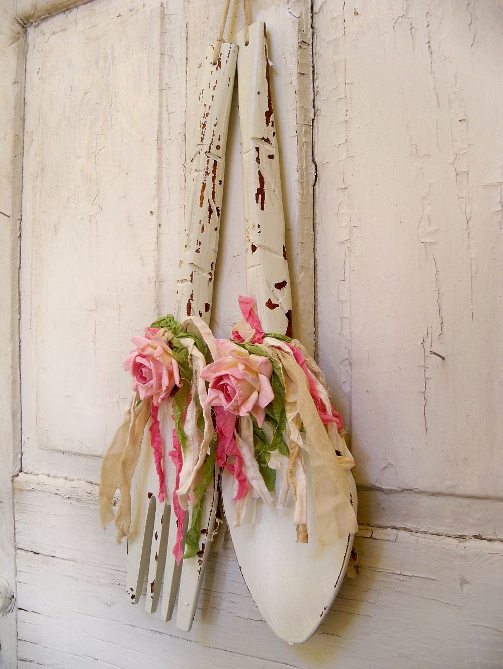 Vintage Shabby Chic Spoon Fork Wall Decor Large Kitchen