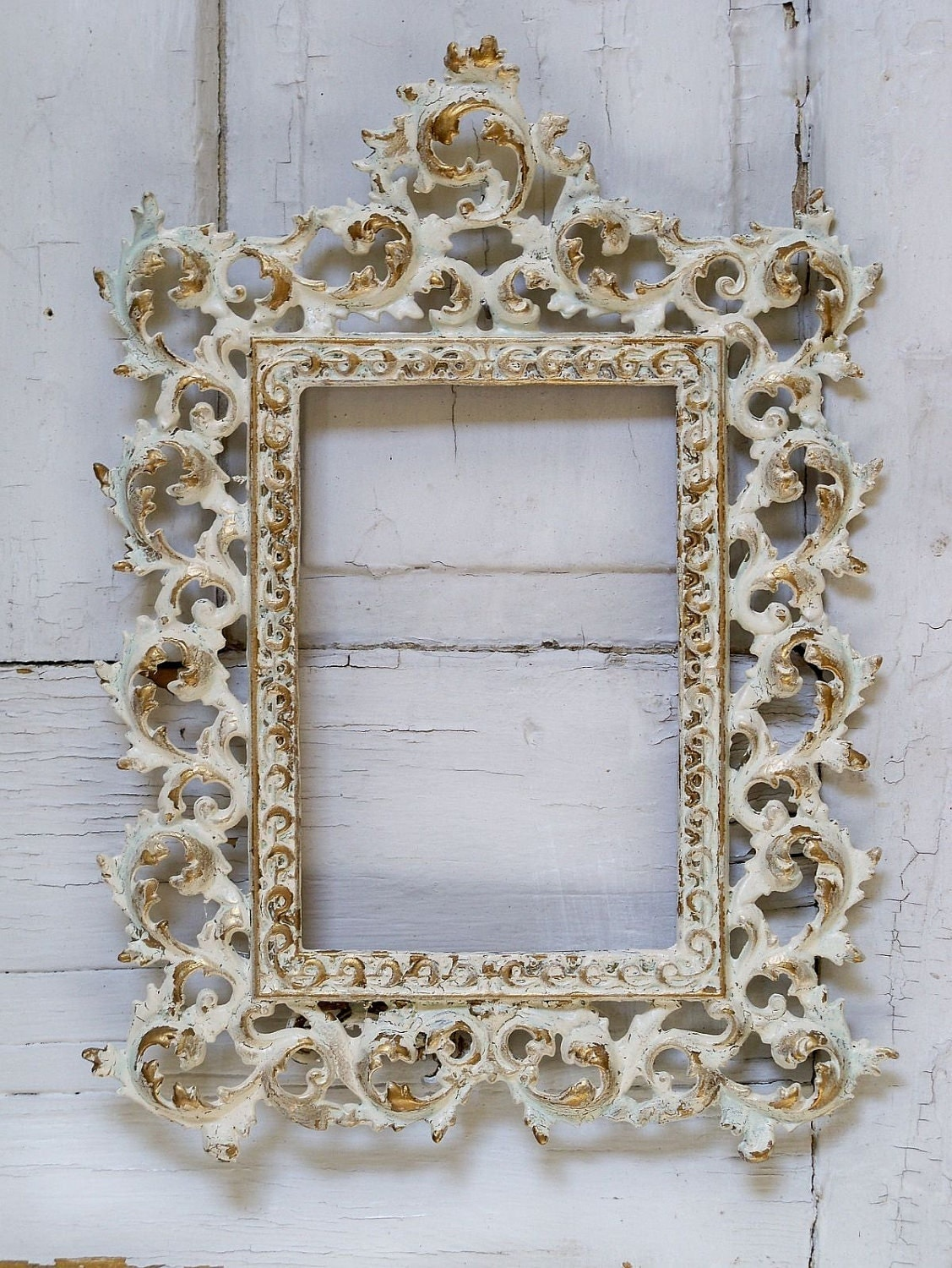 vintage metal picture frame hand painted shabby chic cream. Black Bedroom Furniture Sets. Home Design Ideas