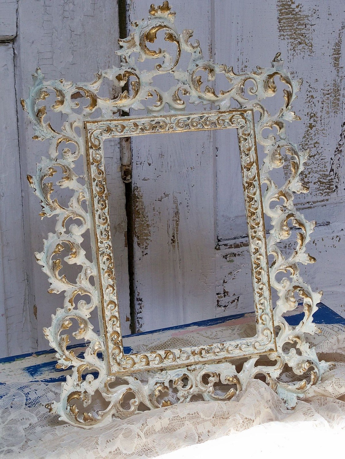 Vintage Metal Picture Frame Hand Painted Shabby Chic Cream