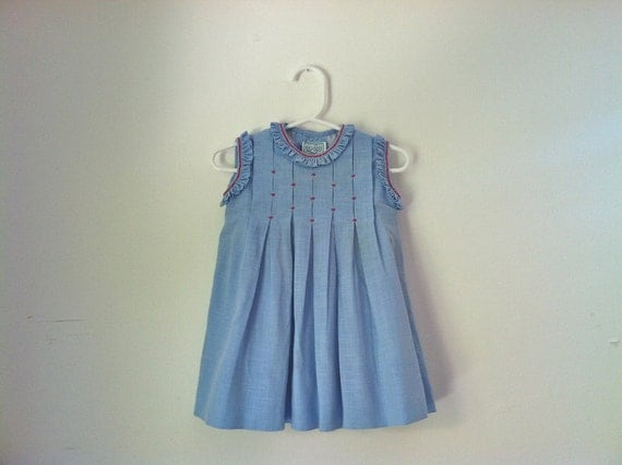 Vintage Rigans Baby Girl Blue Pleated Dress