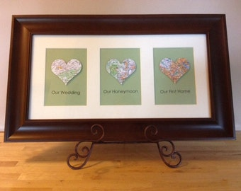 Heart Map, Personalized Framed Artwork for Wedding, Engagement, or Housewarming present, Brown Frame