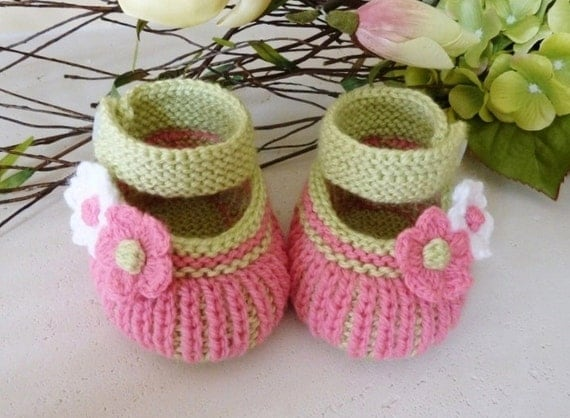Hand Knitted Baby Booties  in Lime Green, Pink, and White - Ready to Ship