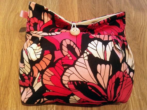 Small Makeup bag- Pink Floral/Cosmetic travel bag