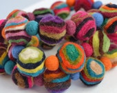 Multicolor natural felt striped ball necklace