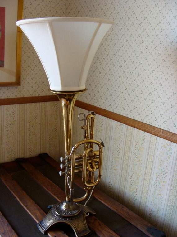 REDUCED Recycled vintage trumpet lamp and shade