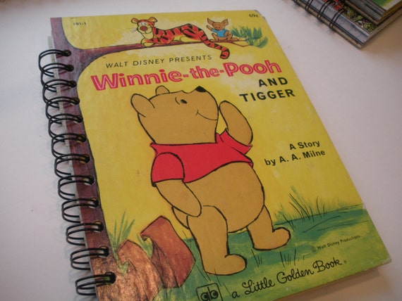 Vintage Winnie the Pooh and Tigger  Little Golden Book Recycled Journal Notebook