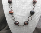 CLEARANCE 50% OFF Brown Disco Ball Bead Necklace - Faceted Agate Beads and Antiqued Brass Lead and Nickel Free