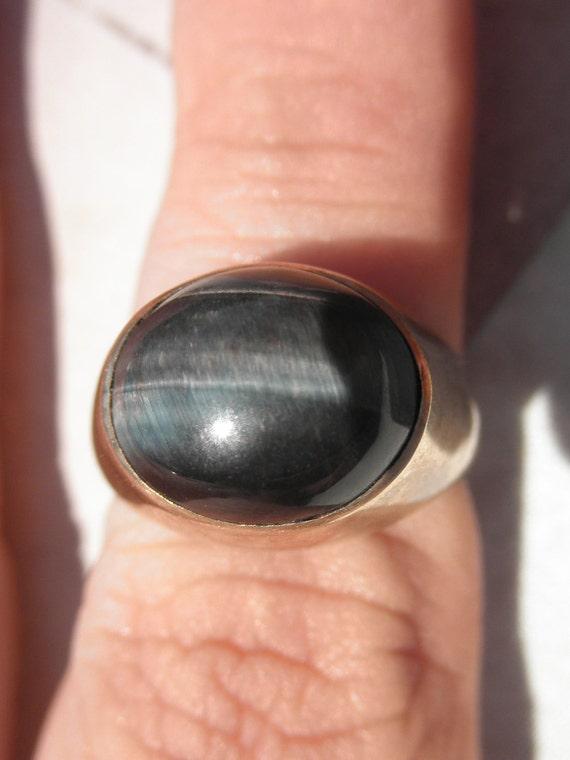 Vintage Tiger Eye Ring Black And Gray Stone