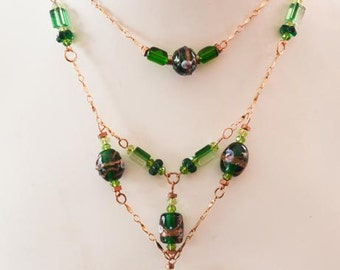 Victorian Rose Gold, Copper and Green Lampwork Beaded Necklace Set   FREE Shipping
